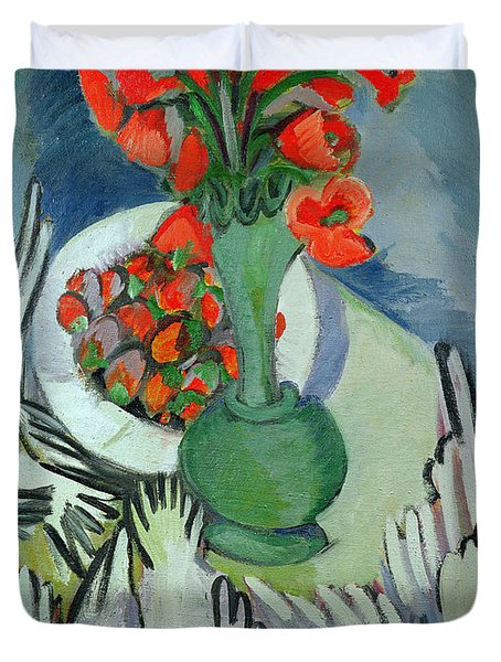 Still Life With Seagulls Poppies And Strawberries Duvet Cover by Ernst Ludwig Kirchner