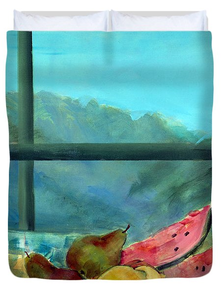 Still Life With Watermelon Duvet Cover by Marisa Leon