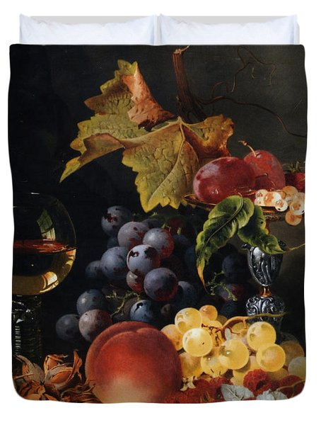 Still Life With Wine Glass And Silver Tazz Duvet Cover by Edward Ladell