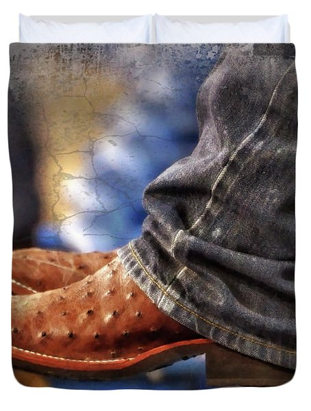 Stockshow Boots IIi Duvet Cover by Joan Carroll