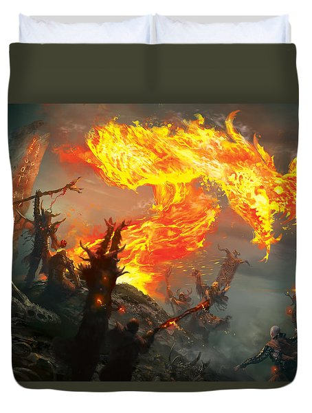 Stoke The Flames Duvet Cover by Ryan Barger