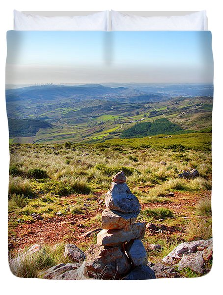 Stone Cairns Duvet Cover by Carlos Caetano