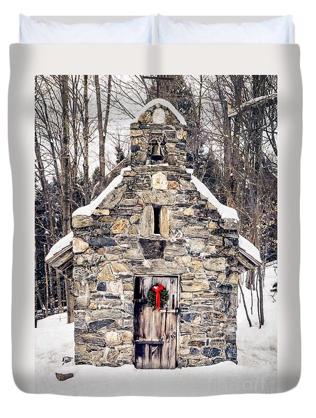Stone Chapel In The Woods Trapp Family Lodge Stowe Vermont Duvet Cover by Edward Fielding