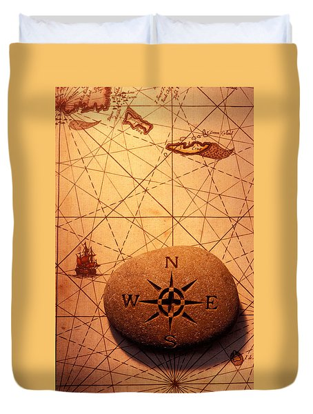 Stone Compass On Old Map Duvet Cover by Garry Gay