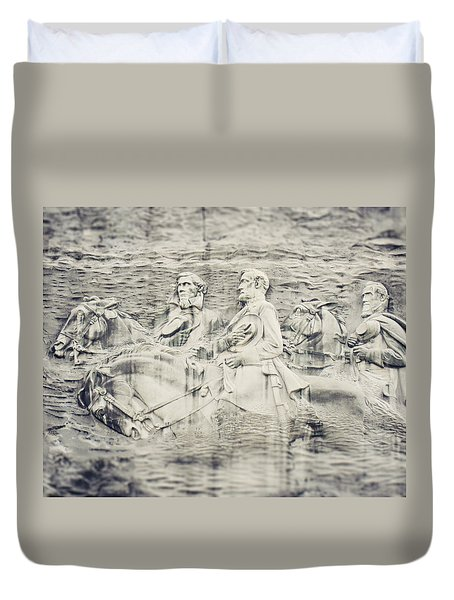 Stone Mountain Georgia Confederate Carving Duvet Cover by Lisa Russo