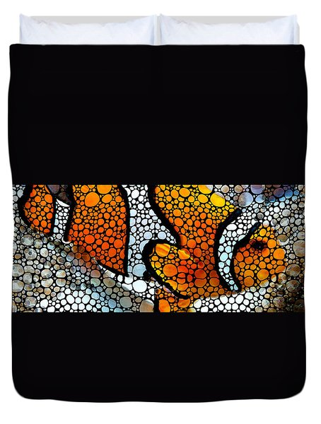 Stone Rock'd Clown Fish By Sharon Cummings Duvet Cover by Sharon Cummings