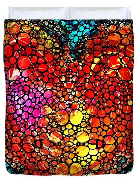 Stone Rock'd Heart - Colorful Love From Sharon Cummings Duvet Cover by Sharon Cummings