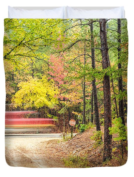 Stop - Beaver's Bend State Park - Highway 259 Broken Bow Oklahoma Duvet Cover by Silvio Ligutti