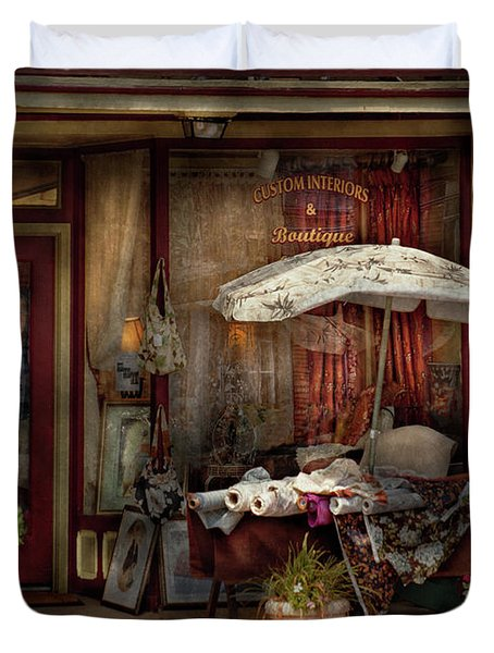 Storefront - Frenchtown Nj - The Boutique Duvet Cover by Mike Savad