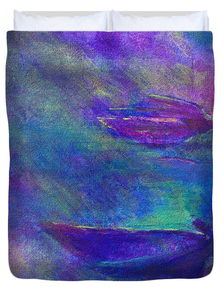 Storm Boats Duvet Cover by Claire Bull