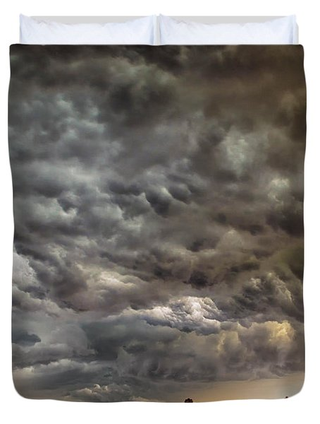 Storm Coulds Over Nyc Duvet Cover by Jerry Fornarotto