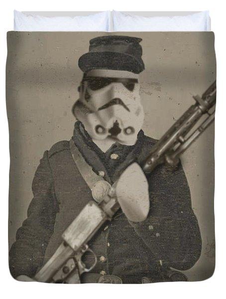 Storm Trooper Star Wars Antique Photo Duvet Cover by Tony Rubino