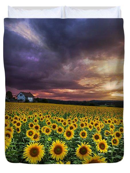 Stormy Sunrise Duvet Cover by Debra and Dave Vanderlaan