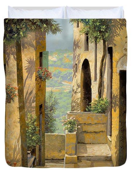 stradina a St Paul de Vence Duvet Cover by Guido Borelli
