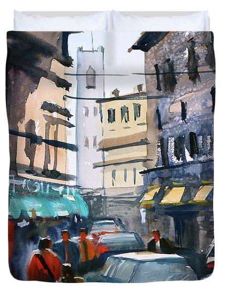 Strangers In Rome Duvet Cover by Ryan Radke