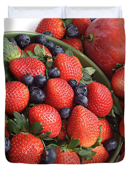 Strawberries Blueberries Mangoes And A Banana - Fruit Tray Duvet Cover by Andee Design