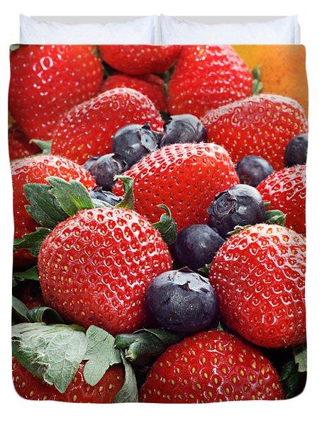 Strawberries Blueberries Mangoes - Fruit - Heart Health Duvet Cover by Andee Design