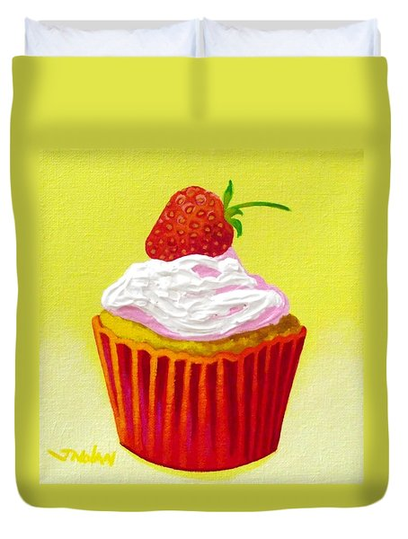 Strawberry Cupcake Duvet Cover by John  Nolan