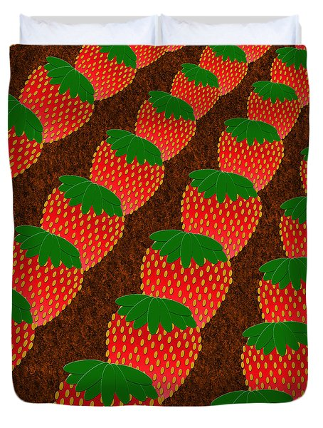 Strawberry Fields Forever Duvet Cover by Andee Design