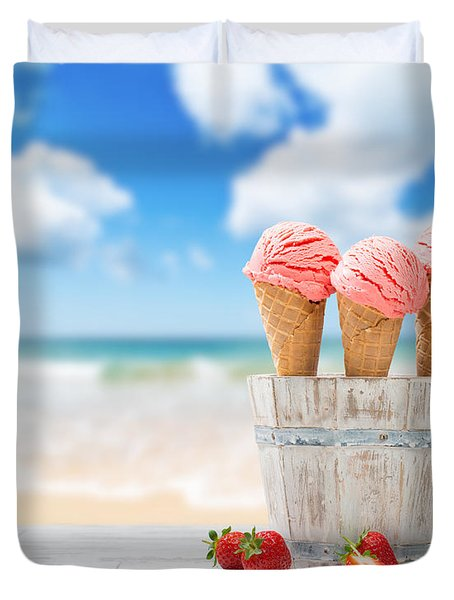 Strawberry Ice Creams Duvet Cover by Amanda Elwell