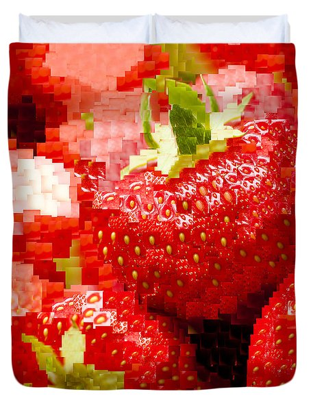Strawberry Mosaic Duvet Cover by Anne Gilbert