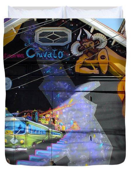 Street Art Valparaiso Chile 5 Duvet Cover by Kurt Van Wagner