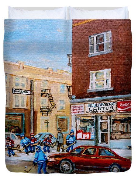 Street Hockey On Monkland Avenue Paintings Of Montreal City Scenes Duvet Cover by Carole Spandau