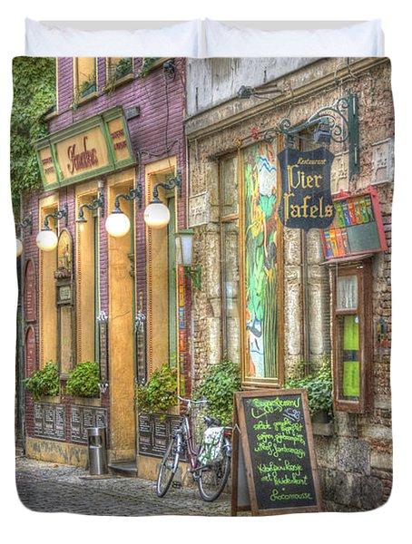 Street In Ghent Duvet Cover by Juli Scalzi