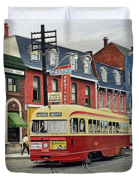 Streetcar On Queen Street 1963 Duvet Cover by Kenneth M  Kirsch