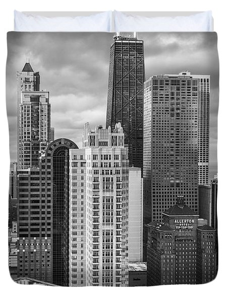 Streeterville From Above Black And White Duvet Cover by Adam Romanowicz