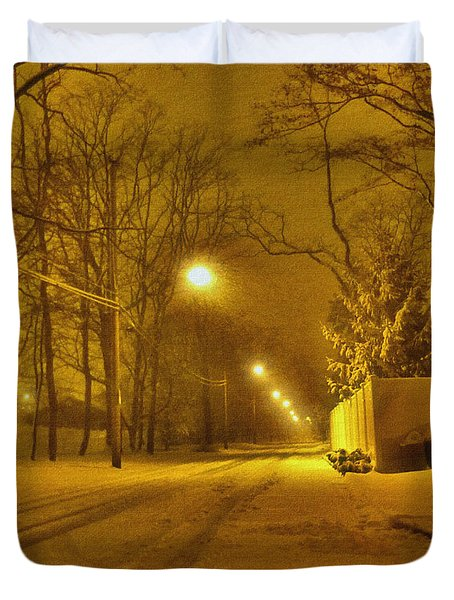 Streetlights Duvet Cover by Mikki Cucuzzo