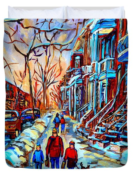 Streets Of Montreal Duvet Cover by Carole Spandau