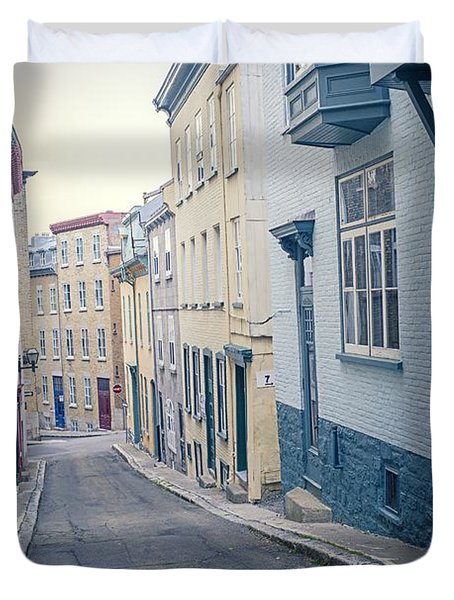 Streets Of Old Quebec City Duvet Cover by Edward Fielding
