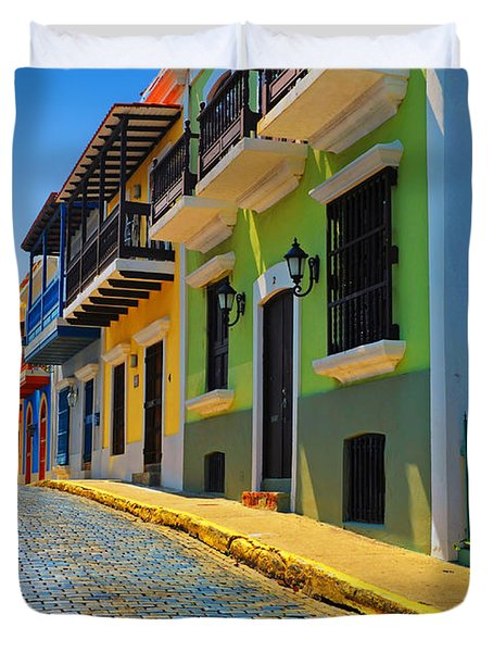Streets Of Old San Juan Duvet Cover by Stephen Anderson