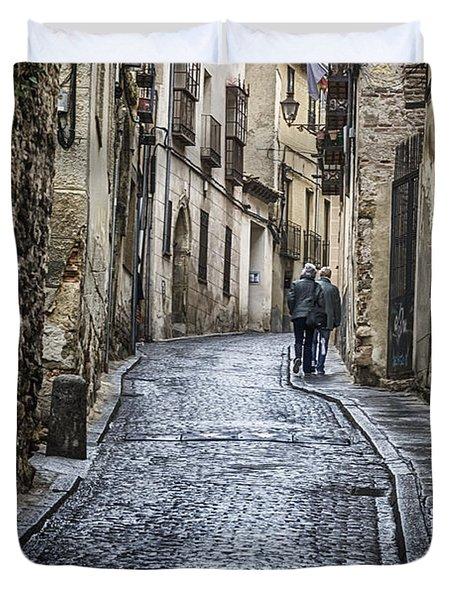 Streets of Segovia Duvet Cover by Joan Carroll