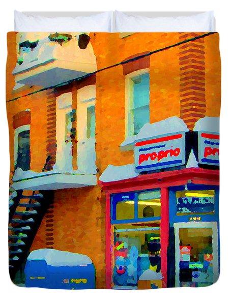 Streets Of Verdun Corner Depanneur Proprio Staircases In Winter Montreal City Scene Carole Spandau Duvet Cover by Carole Spandau