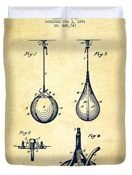 Striking Bag Patent Drawing From 1891 - Vintage Duvet Cover by Aged Pixel