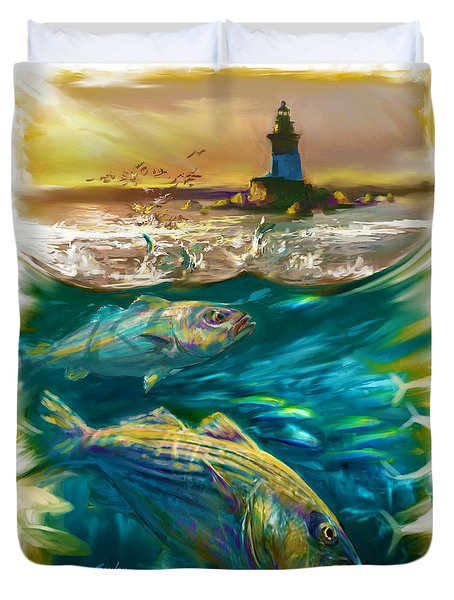 Striper And Lighthouse - Striped Bass Art Duvet Cover by Savlen Art