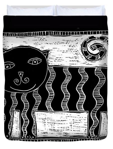 Stripey Cat Scraperboard Duvet Cover by Julie Nicholls
