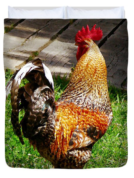 Strutting Rooster Duvet Cover by Susan Savad