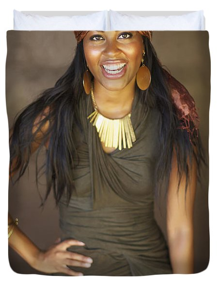Studio Portrait of African American Model Duvet Cover by Kicka Witte