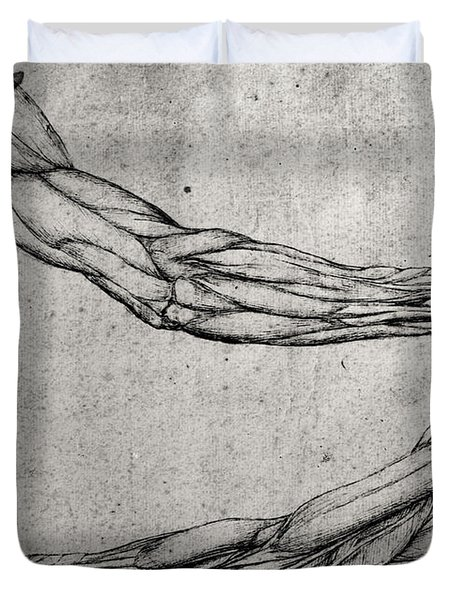 Study Of Arms Duvet Cover by Leonardo Da Vinci