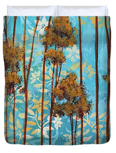 Stunning Abstract Landscape Elegant Trees Floating Dreams II By Megan Duncanson Duvet Cover by Megan Duncanson