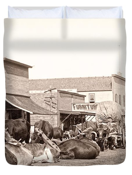 STURGIS SOUTH DAKOTA c. 1890 Duvet Cover by Daniel Hagerman