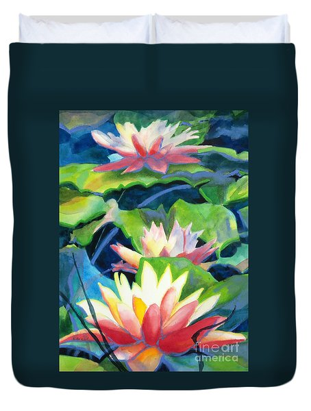 Styalized Lily Pads 3 Duvet Cover by Kathy Braud