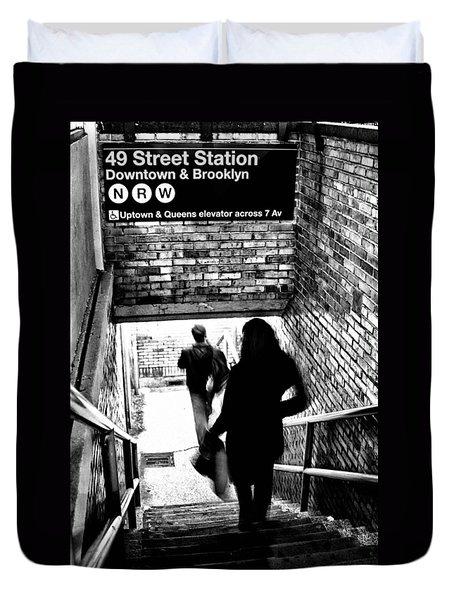 Subway Shadows Duvet Cover by Karol  Livote