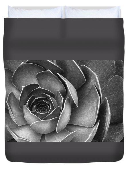 Succulent In Black And White Duvet Cover by Ben and Raisa Gertsberg