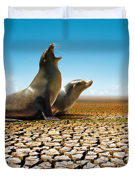 Suffering Seals Duvet Cover by Carlos Caetano