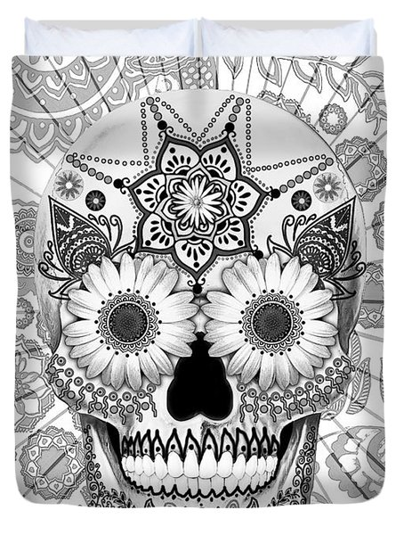 Sugar Skull Bleached Bones - Copyrighted Duvet Cover by Christopher Beikmann