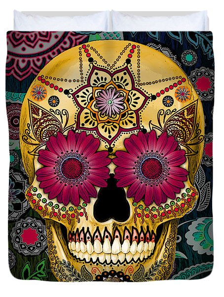 Sugar Skull Paisley Garden - Copyrighted Duvet Cover by Christopher Beikmann